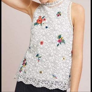 Anthropologie white lace floral tank top